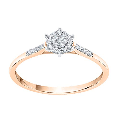 KATARINA Prong Set Diamond Cluster Engagement Ring in 14K Rose Gold (1/10 Cttw, G-H, Vs2-Si1) (Size-6.5)
