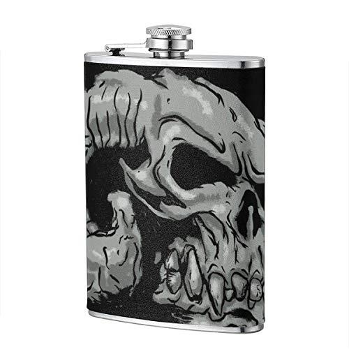 Frascos para beber XBYC para alcohol, Cráneo de cabra demoníaco 8 oz Frasco de cadera de acero inoxidable para licor para hombres