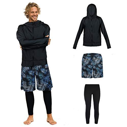 【ARMOTO】 ラッシュガード メンズ 水着 長袖 パーカー レギンス サーフパンツ フィットネス [UVカット UPF50+・吸汗速乾] 水泳 水陸両用 大きいサイズ
