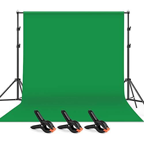 Andoer 2 x 3 M Fondo Verde de Fotografía con Sistema de Soporte y 3 Abrazaderas + 1 Bolsa , Telón de Fondo para Estudio Fotográfico, Foto Conmemorativa, Grabación de Video