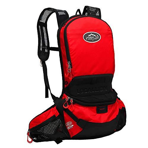 Mochila de ciclismo resistente al agua Mochila de hidratación ligera mochila de agua para senderismo, correr, ciclismo, camping, bicicleta de montaña de 12 l (color rojo, tamaño: 48 x 22 cm)
