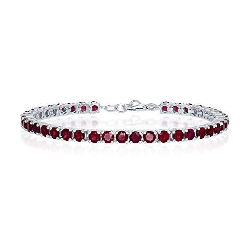 Sterling Silver Ruby Gemstone 4mm Tennis Bracelet (July Birthstone)