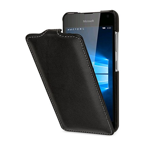 StilGut UltraSlim Hülle, Hülle aus Leder für Microsoft Lumia 650/650 Dual SIM, Schwarz Nappa
