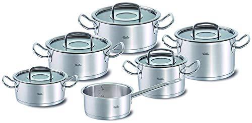 Fissler original-profi collection / Juego de ollas de acero inoxidables, compuesto por 6piezas, con tapadera de vidrio, apta para cocinas de inducción, gas, vitrocerámica y eléctricas