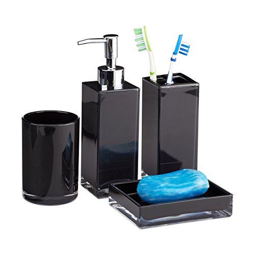 Relaxdays Badaccessoires Set 4-teilig, modern, Zahnputzbecher, Zahnbürstenhalter, Seifenspender, Seifenschale, schwarz