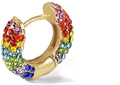 JIAJBG Pendientes de gota Cz arco iris, pendientes de circonita cúbica para mujer, juego de aretes de clip redondo de oro para mujer, 1 pieza de decoración, 1 pieza