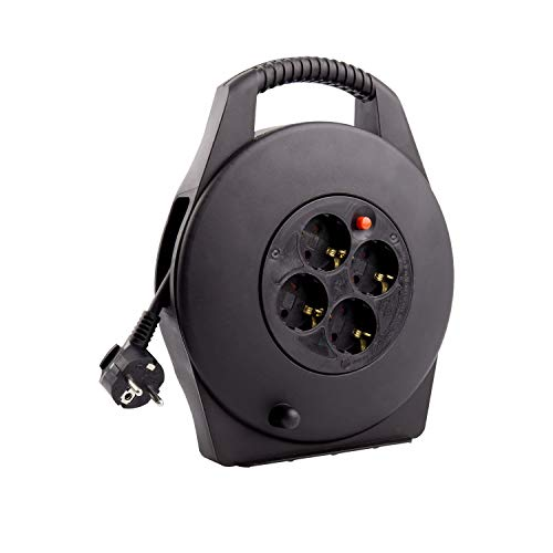 LEDKIA LIGHTING Carrete Alargador de Cable 10m 3x1.5 mm Negro