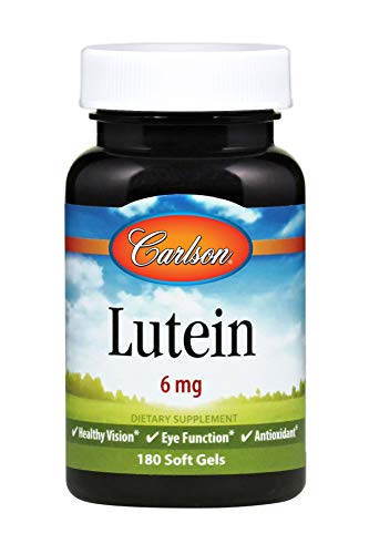 Carlson - Lutein, 6 mg, Healthy Vision & Eye Function, Antioxidant, Lutein Supplements for Eyes, Eye Vitamins with Lutein & Zeaxanthin, 180 Softgels