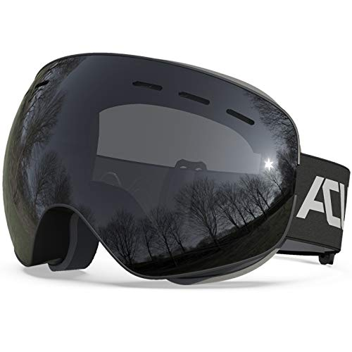 ACURE Ski Goggles, OTG Frameless Snow Snowboard Goggles of Dual Lens with Anti Fog and UV400 Protection for Men, Women, Youth