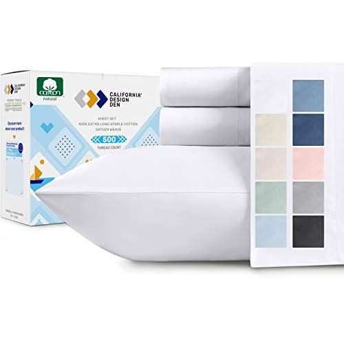 500-Thread-Count 100% Cotton Sheet Pure White Queen-Sheets Set, 4-Piece Extra Long-staple Combed Cotton Best-Bedding Sheets For Bed, Soft & Silky...