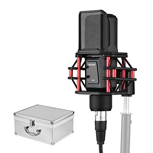 ammoon Microfono Condensatore Professionale con Shock Mount Filtro Pop 3-pin Cavo Audio XLR Custodia per Stoccaggio in Alluminio per Streaming Registrazione Podcasting