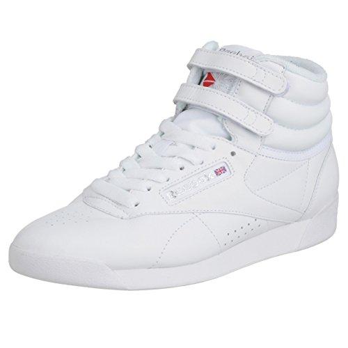 Reebok Women's Freestyle Hi Sneaker, White/Silver 2, 11