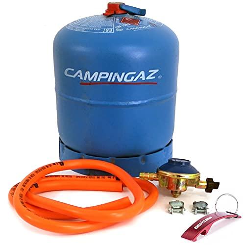 Pack de Botella de Gas Camping Azul Recargable R907 + Regulador 30Mbar + Manguera con Abrazaderas 1,5m (Botella de Gas + Kit regulador 30Mbar)