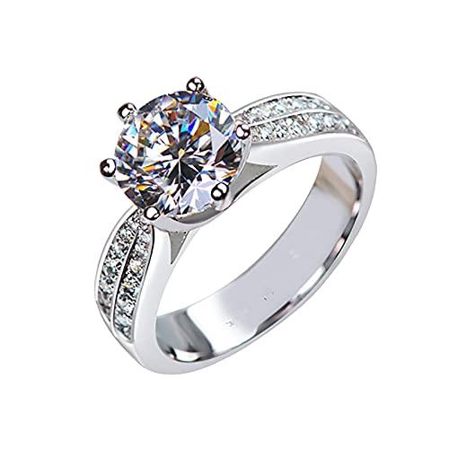 minjiSF Anillo de plata pulido de diamante para mujer con circonitas brillantes,...