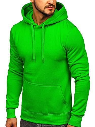 BOLF Herren Kapuzenpullover Sweatjacke Hoodie Sweatshirt mit Kapuze Farbvarianten Kapuzenpulli Freizeit Training Gym Fitness J.Style 2009 Grün (Hell) M [1A1]