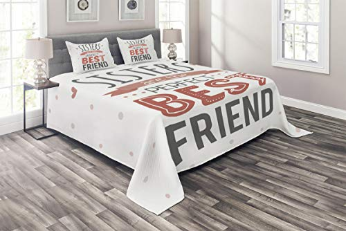 """Betsy Barnard Home Fashion 3-Piece Bed Sheet Set Wrinkle Free, No Shrinkage, No Pilling Best Friend Sisters Words 86"""" x 102""""/20"""" x 30""""x2"""