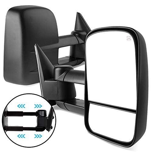 AUTOSAVER88 Towing Mirrors Compatible with 1999-2002 Chevy Silverado GMC Sierra 1500 2500 3500, Power Heated Telescoping Tow Mirrors Pair Set