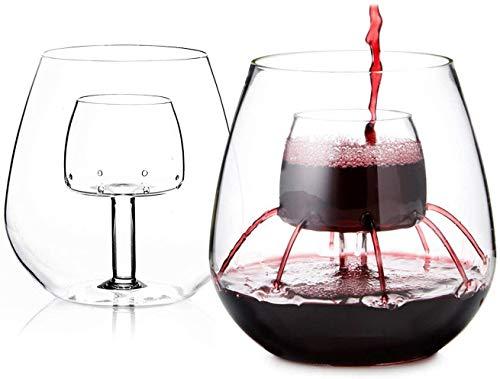 Decantador de vino con aireación sin tallo, decantador de vino y aireador de vino, viene con función de sobering