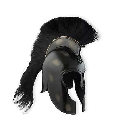 Medieval Knight Wearable Trojan Armor Helmet with Black Plume