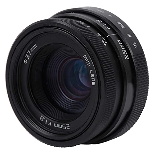 SALUTUYA Lente Gran Angular,F1.8 Práctico Objetivo Gran Angular con Montura C de 25 mm, para Sony Nikon Canon DSLR para Cámaras sin Espejo con Montura C(Black)