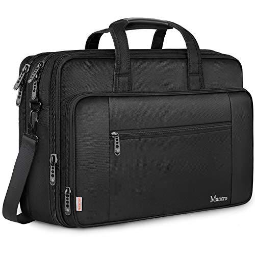 Mancro 17 Zoll Laptop Tasche, Groß Business Aktentasche Wasserabweisend Computer Tasche Umhängetasche Erweiterbar Schultertasche Geschenk für Frauen Männer Schule Reisen - Schwarz MEHRWEG