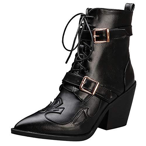 ELEEMEE Mujer Western Tobillo Botas Cordones Cowboy Botas Moda Tacón de Cuña Corto Botines Zapatos Black Talla 40 Asiática