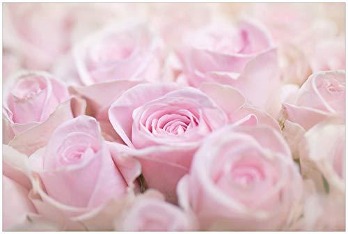 Wallario Glasbild Rosafarbene Rosenblüten im Strauß - 60 x 90 cm in Premium-Qualität: Brillante Farben, freischwebende Optik