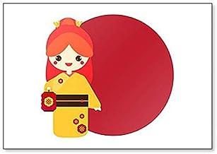 Lindo Kokeshi. Imán para nevera con ilustración de muñeca japonesa tradicional