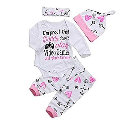 Newborn Infant Baby Girls Clothes Long Sleeve Letter Romper Arrow Heart Pants Hats Headband 4Pcs Outfits Set (6-12 Months, I'm Proof That Daddy Doesn't Play Video Games All The time)