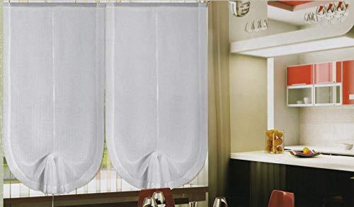 Par de Visillos Ajustables para Ventana y puerta de Cristal, Medidas 45-60 -90 cm,Cortinas de Media Altura Color Blanco 45x150