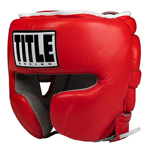 Title Boxing Leather Sparring Headgear, Red, Regular