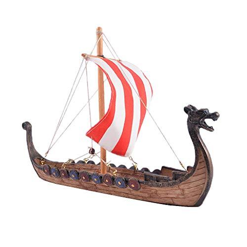 Barcos Vikingos y Dragones, Barco del Dragón Pintado a Mano y Pulido - A- 25.5x5.5x17.5cm