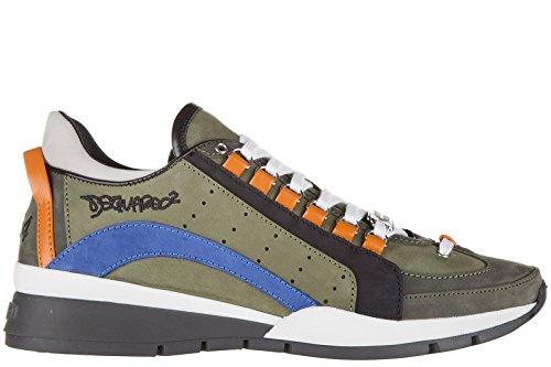Dsquared2 scarpe sneakers uomo in pelle nuove 551 verde