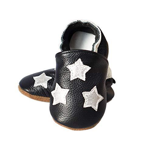 Vesi , Chaussures souple pour bébé (garçon) Kleine Sterne Größe S:0-6 Monate