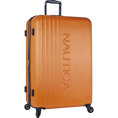 Nautica Ahoy Hardside Expandable 4-Wheeled Luggage-28 Inch Checked Size, Classic Orange, 28