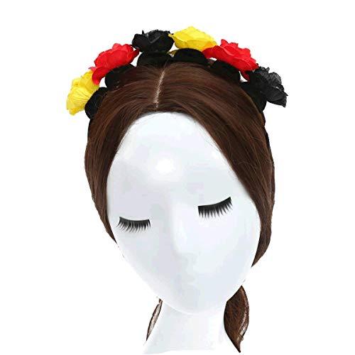 ZADAWERK® Haarreif - Blumen - schwarz- rot - gelb - Deutschland - Belgien - Fan - Fußball - Olympia