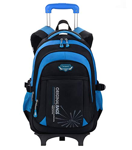 Rolling Backpack for Boys, Fanspack Boys Bookbag on Wheels Kids School Backpack with Wheels Rolling Bookbag Boys Roller Backpack Nylon wheeled Backpack