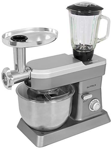 Gutfels Küchenmaschine KM 8101 SI | Mixer | Fleischwolf | 3 Lochscheiben | Mixbehälter aus Glas | Küchengerät | Edelstahl-Schüssel 6,2 l | Silber, Metall, 6.2 liters
