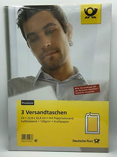 Deutsche Post 3 C4 Versandtaschen/Umschläge braun haftklebend mit Papprücken
