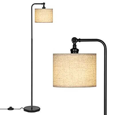 DEWENWILS 63 inch Black Floor Lamp with Beige Linen Drum Shade, Adjustable Lampshade, Standing Tall Lamp for Living Room, Bedroom, Office, Simple Design Farmhouse Style