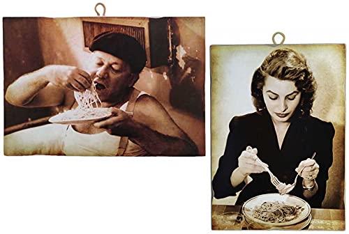"KUSTOM ART Juego de 2 cuadros de estilo vintage ""Actores famososos"" Fantozzi y Sofia Loren, impresión sobre madera, para decoración de restaurantes, pizzerías, bares, hoteles, etc."