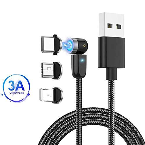 Cavo di ricarica magnetico, rotazione 360°e 180°(6.6ft/2m)Cavo di trasferimento dati USB 3A a ricarica rapida Cavo magnetico 3 in 1, compatibile con Mirco USB, tipo C e dispositivo iProduct Nero