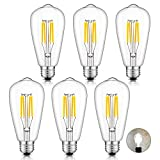 switch led bulb 40w - CRLight 4W Dimmable 4000K LED Edison Bulb Daylight White, 400LM 40W Equivalent E26 Medium Base, ST64 Vintage Edison Style Clear Glass LED Filament Bulbs, Pack of 6