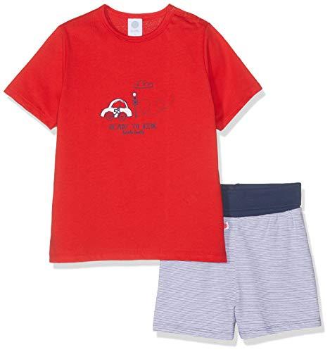 Sanetta Baby-Jungen Pyjama Short Bekleidungsset, Rot (Rouge 3480), 104