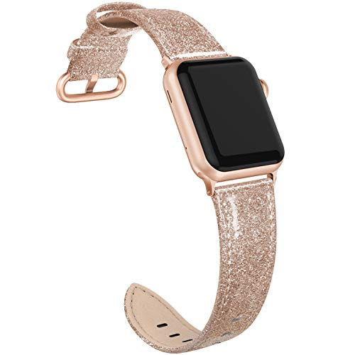 PARMPH Genuine Leather Band Compatible for Apple Watch 38mm 40mm, Shiny Bling Glitter Slim Thin Elegant Genuine Leather Strap Compatible with iWatch Series 6 5 4 3 2 1 SE Women, Glistening Rose Gold