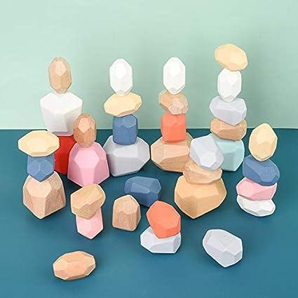 Wooden Balancing Stacking Stones Wooden Blocks Rocks Toy Game