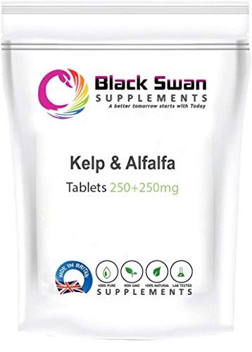Black Swan Kelp & Alfalfa 250+250 mg Tablets – with high antioxidant Properties – Healthy Skin – Nails – Healthy Hair, Immune System and General Wellbeing (120 Tabs)