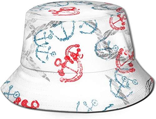 DUTRIX Patrón sin Costuras Unisex Transpirable de Parte Superior Plana con Sombrero de Cubo de Ancla Dorada Sombrero de Pescador de Verano-Patrón sin Costuras con Anclas y Cuerdas-Talla única