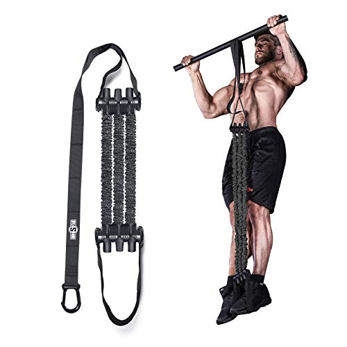 """INNSTAR Pull up Assist Band System Adjustable Anti Snap Chin Up Assistance Elastic Resistance Band """"Patent Pending"""" (Black)"""