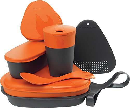 Light My Fire 8-Piece BPA-Free Meal Kit 2.0 with Plate, Bowl, Cup, Cutting Board, Spork and More, Black